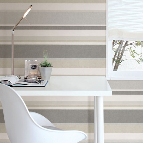Simple space 2 raya linen stripe wallpaper roomset