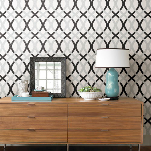 Simple space 2 contour lattice wallpaper roomset