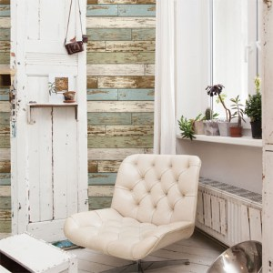 2701-22302 reclaimed scrap wood wallpaper roomset