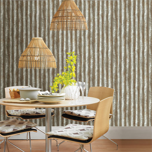 2701 22335 Reclaimed Corrugated Metal Wallpaper Roomset