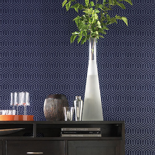 Labyrinth ahsford geometrics flocked wallpaper roomset