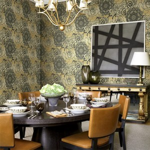 Gatsby rose medallion wallpaper roomset