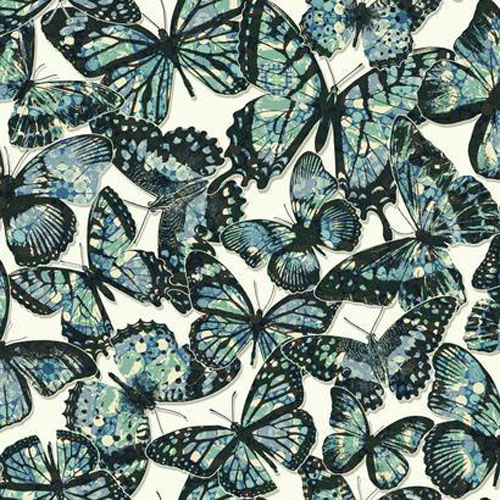 RK4441 urban chic jeweled monarch butterfly wallpaper blue