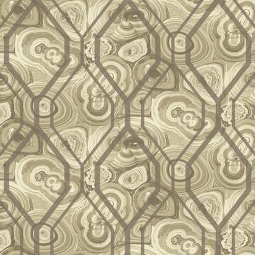 RK4496 urban chic malachite trellis wallpaper taupe