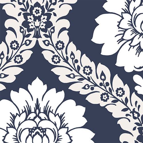 SH34516 shades classic damask wallpaper blue white