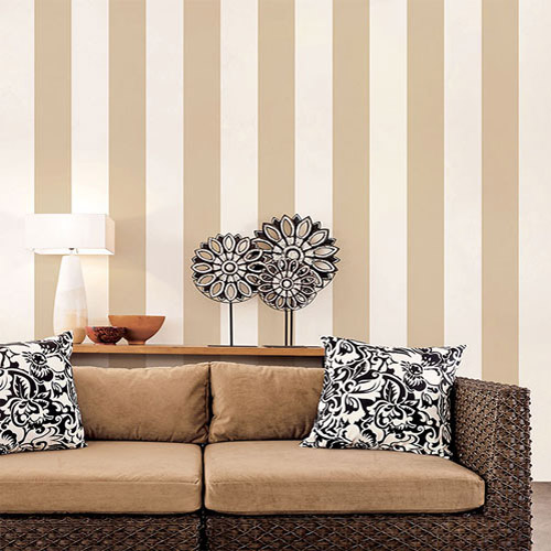 shades wide stripe wallpaper roomset