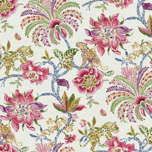 WL8600 williamsburg 2 braganza exotic floral Sure Strip wallpaper pink blue green