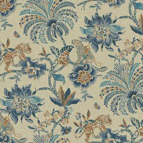 WL8604 williamsburg 2 braganza exotic floral Sure Strip wallpaper blue cinnamon beige