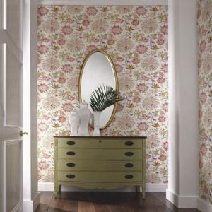williamsburg braganza floral Sure Strip wallpaper roomset