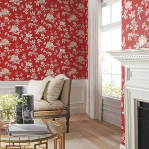 Williamsburg 2 chinease peony Sure Strip wallpaper roomset
