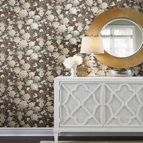 Williamsburg lightfoot garden floral Sure Strip wallpaper roomset