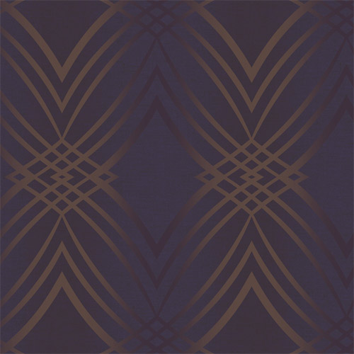 GA30806 Gatsby Graphic Wave Wallpaper Purple Copper