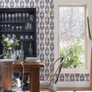 Simple Space 2 Block Print Tulip Wallpaper Roomset