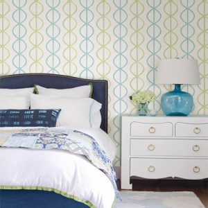 Catalina Banning Stripe Geometric Wallpaper Roomset