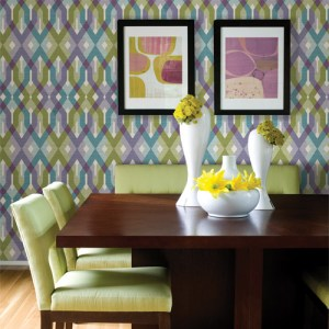 2656-004040 Catalina Harbour Lattice Wallpaper Roomset