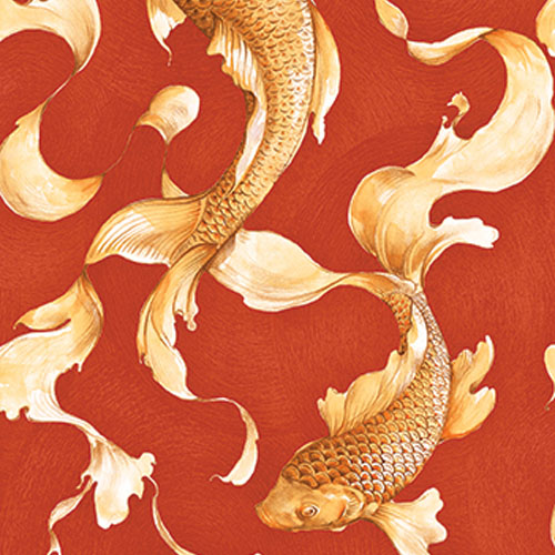AI40601 Koi Fish Wallpaper Red