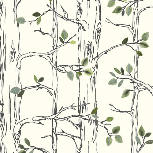SB7670 Brothers and Sisters Volume 5 Knock on Wood Tree Sure Strip Wallpaper White Green
