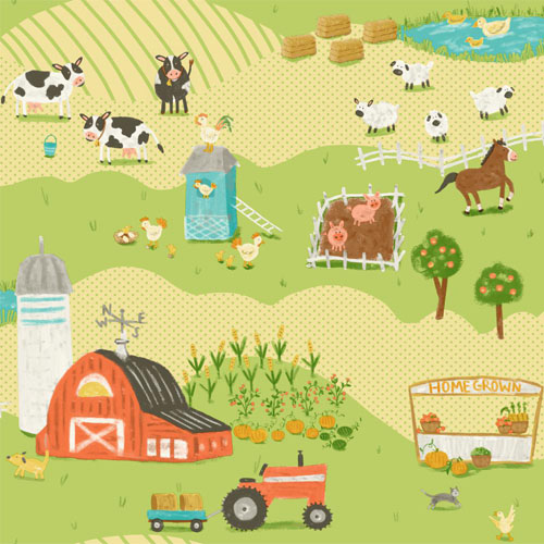 SB7686 Brothers and Sisters Volume 5 Down on the Farm Sure Strip Wallpaper Light Green