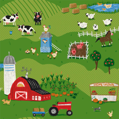 SB7687 Brothers and Sisters Volume 5 Down on the Farm Sure Strip Wallpaper Dark Green