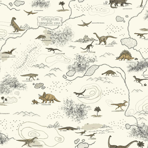SB7744 Brothers and Sisters Volume 5 Mesozoic Dinosaur Sure Strip Wallpaper Off White