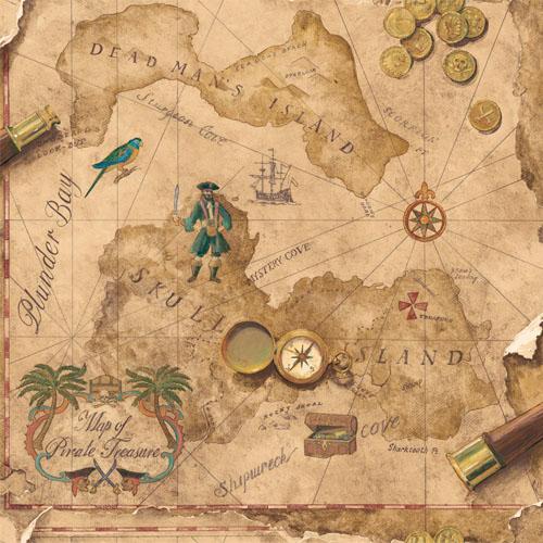 SB7791 Brothers and Sisters 5 Pirates Map Sure Strip Walllpaper Tan