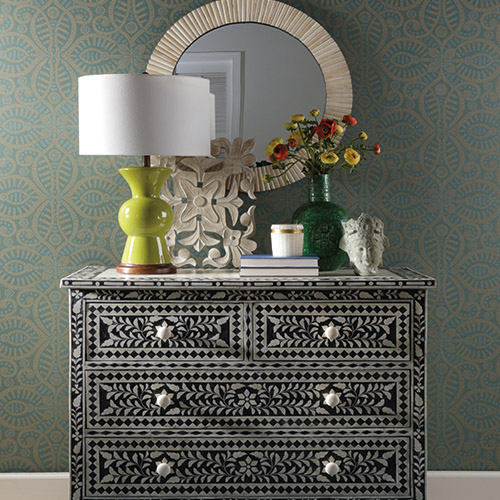 Waverly Global Chic Belle of the Ball Sure Strip Wallpaper Roomset