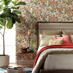 Waverly Global Chic Graceful Garden Sure Strip Wallpaper Roomset