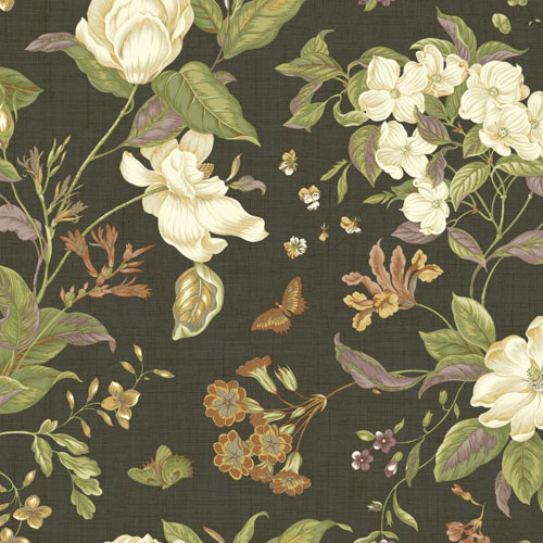 WM2502 Williamsburg Garden Images Sure Strip Wallpaper Charcoal