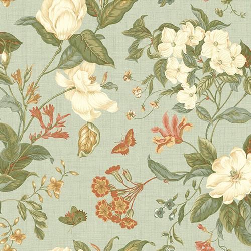 WM2504 Williamsburg Garden Ideas Sure Strip Wallpaper Aqua