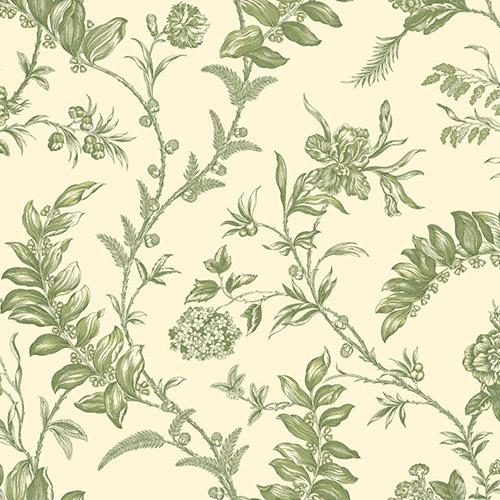 WM2519 Williamsburg Solomon's Seal Sure Strip Wallpaper Green