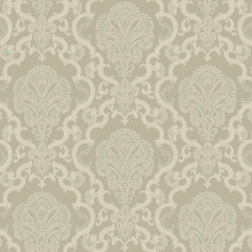 WM2566 Williamsburg Halifax Lace Sure Strip Wallpaper Gray