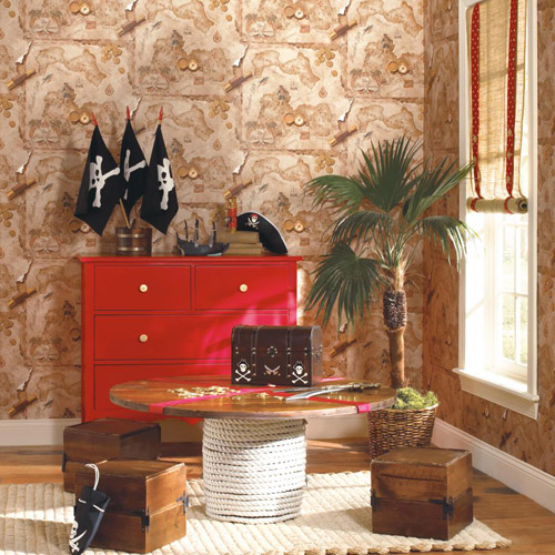 Brothers and Sisters Volume 5 Pirates Map Sure Strip Wallpaper Roomset