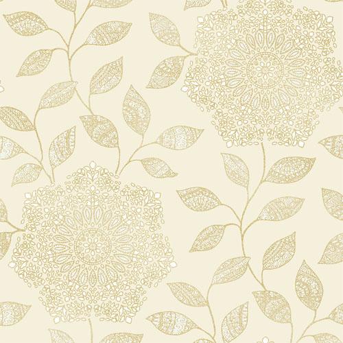 2618-21319 Alhambra Shirazi Bohemian Floral Wallpaper Champagne