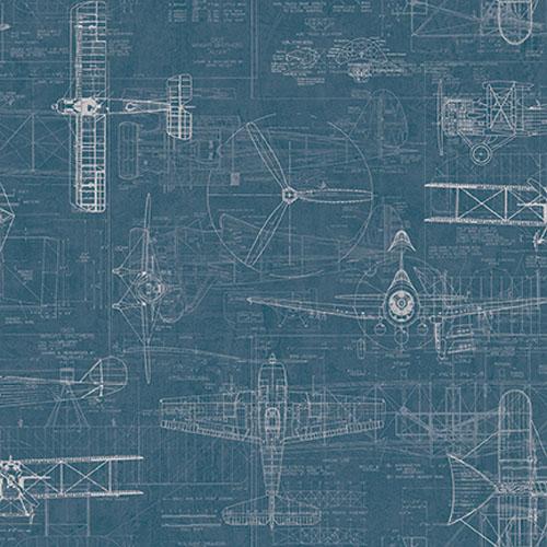 JP31202 Journeys Wright Brothers Biplane Wallpaper Blue