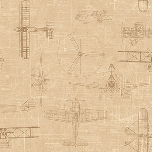 JP31205 Journeys Wright Brothers Biplane Wallpaper Tan