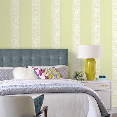 Waverly Stripes Santa Maria Stripe Sure Strip Wallpaper Roomset