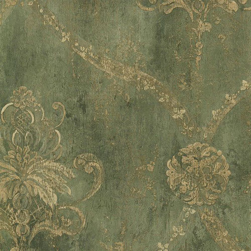 CH22568 Norwall Classic Silks 2 Fresco Damask Wallpaper Green