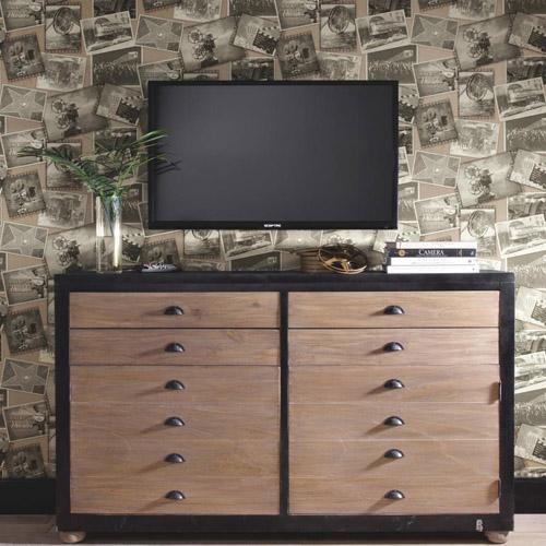 Carey Lind Menswear Screening Room Sure Strip Wallpaper Roomset