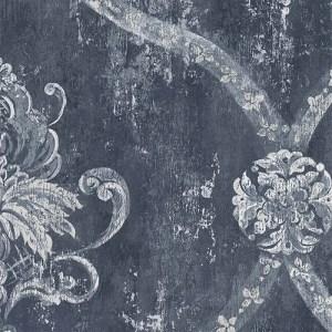 CS35601 Norwall Classic Silks 2 Fresco Damask Wallpaper Midnight Blue