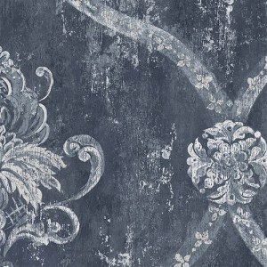 CS35601 Norwall Classic Silks 2 Fresco Damask Wallpaper Midnight Blue