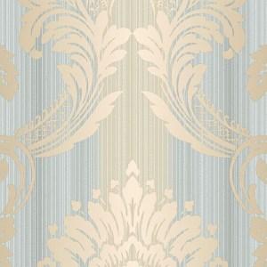 CS35603 Norwall Classic Silks 2 Damask Stripe Wallpaper Gold Blue