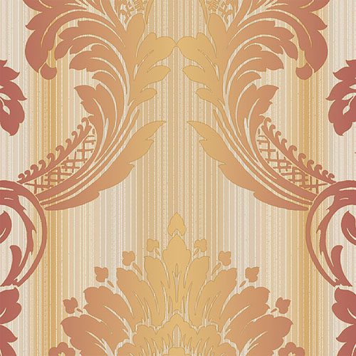 CS35604 Norwall Classic Silks 2 Damask Stripe Wallpaper Rust Gold