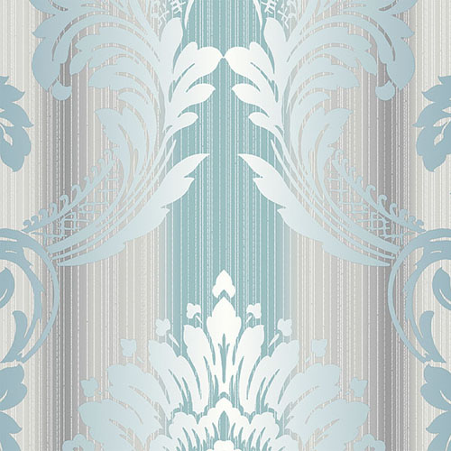 CS35608 Norwall Classic Silks 2 Damask Stripe Wallpaper Gray Teal
