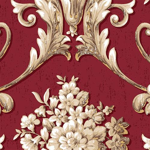 CS35622 Norwall Classic Silks 2 Acanthus Damask Wallpaper Garnet