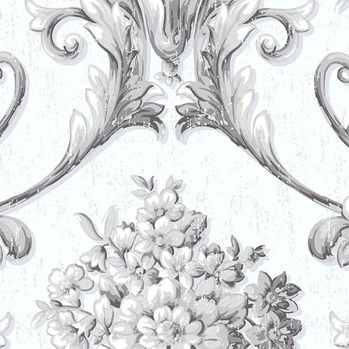 CS35262 Norwall Classic Silks 2 Acanthus Damask Wallpaper Gray