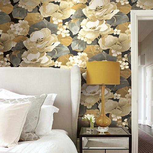 Seabrook Nouveau Luxe Adorn Floral Wallpaper Roomset