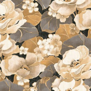 NE50500 Seabrook Nouveau Luxe Adorn Floral Wallpaper Pewter Tan