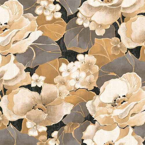 NE50500 Seabrook Nouveau Luxe Adorn Floral Wallpaper Pewter Tan