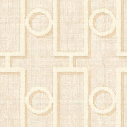 NE50605 Seabrook Nouveau Luxe Adorn Geo Wallpaper White Beige