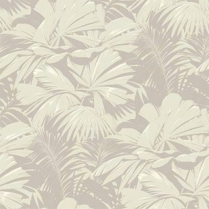 NE51304 Seabrook Nouveau Luxe Masquerade Tropical Leaf Wallpaper Sage Gray